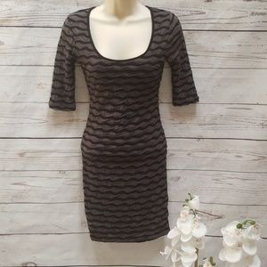 G by Guess ruched 3 quarter sleeve mini dress